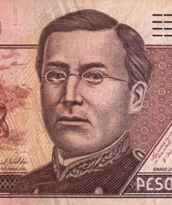 Image of Ignacio Zaragoza on 500 peso Mexico banknote - 2008 -  Photo: Joseph A. Tyson