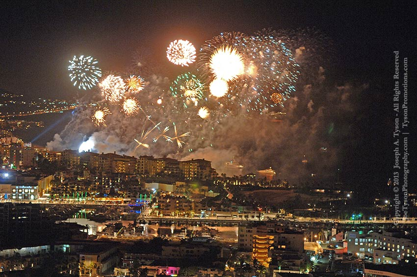 Fireworks over Medano Beach and Cabo San Lucas harbor,