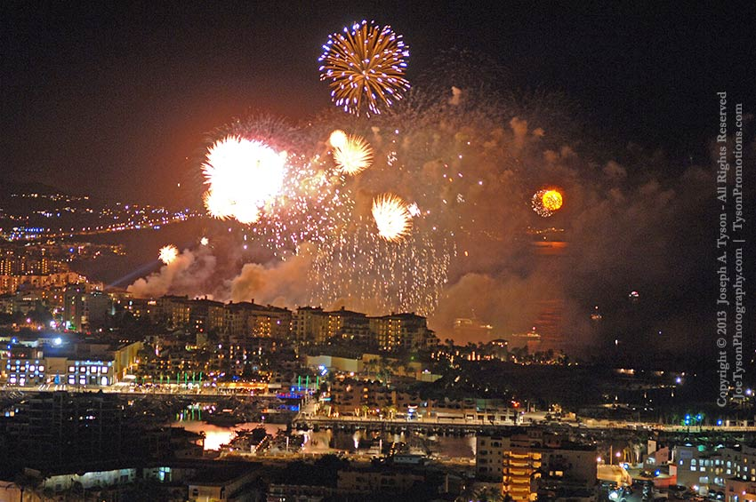 Fireworks over Medano Beach and Cabo San Lucas harbor