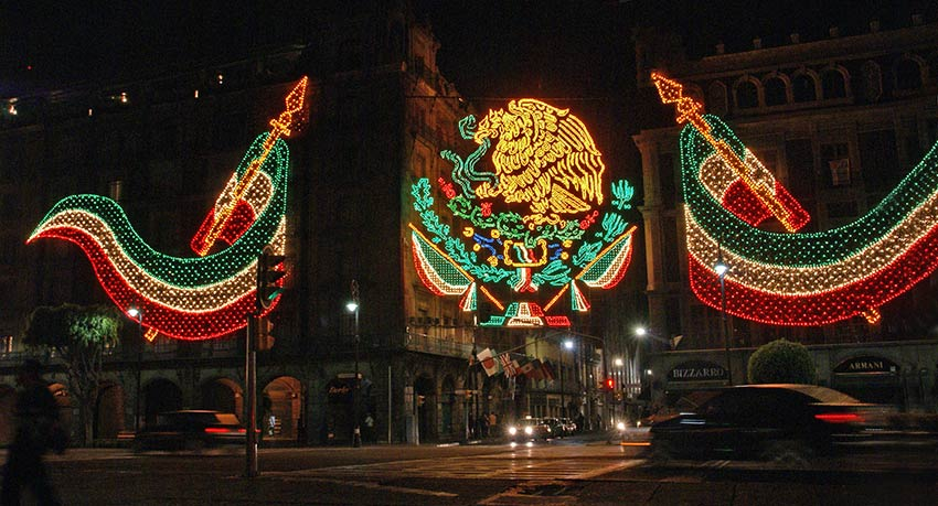 Mexico Independence Day Lights at Night