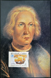 FRANCE - CIRCA 1992: A stamp printed in New Caledonia dedicated to discovery of America shows the ship the Pinta and the portrait of Christopher Columbus circa 1992; Photo:  BigStockPhoto.com / Neftali