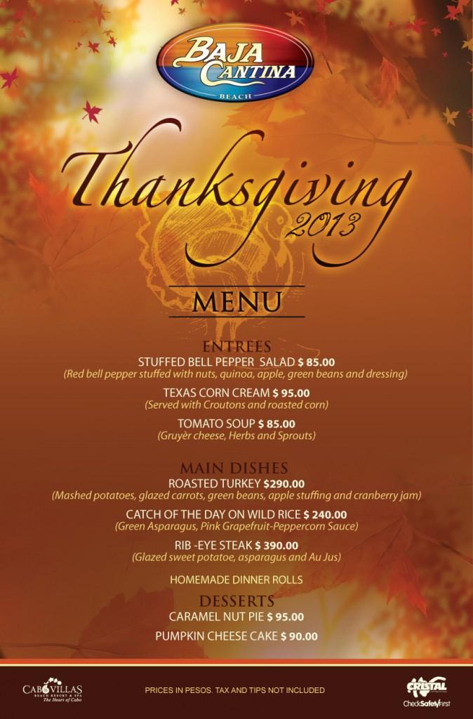 Menu Thanksgiving BEACH 2013