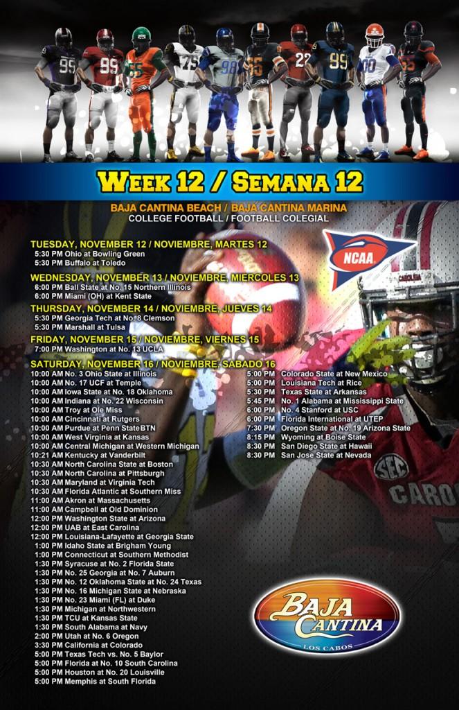 Poster HORARIOS NCAA 2013