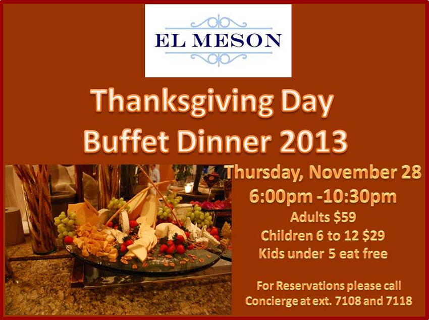 El Meson at Hilton, Thanksgiving Buffet Dinner