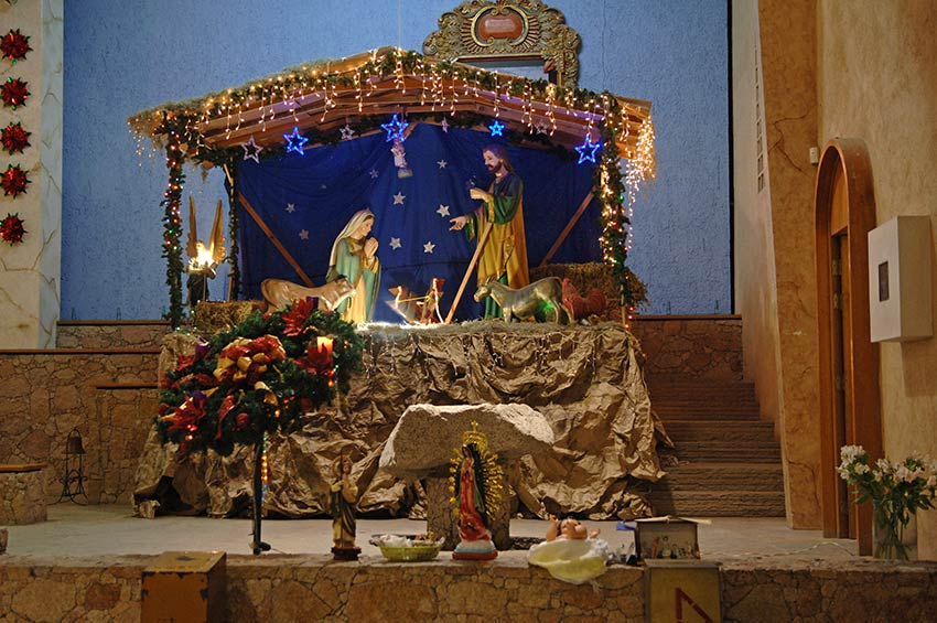 Nacimiento or Nativity Scene at the Santuario de Guadalupe, Catholic Church in Cabo San Lucas. Photo: Tyson