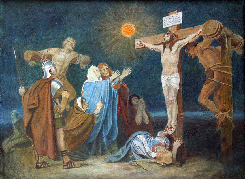 12th Station of the Cross, Crucifixion: Jesus is nailed to the cross.