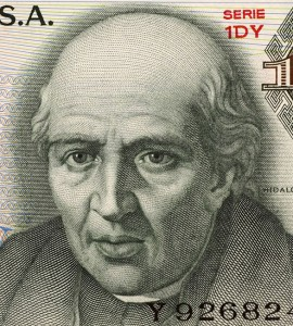 Miguel Hidalgo y Costilla on 10 Pesos 1975 Banknote from Mexico. Priest and leader of the Mexican war of independence. Also known as ''father of the nation''.