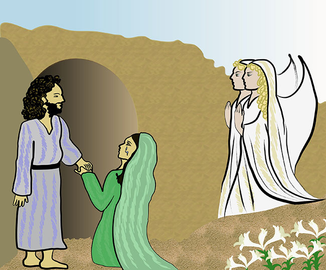 An illustration of the Resurrection of Jesus with Angels and Mary Magdalene. BigStockPhoto.com |  jasmine 83.