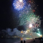 Fireworks over Médano Beach and Cabo San Lucas Lucas harbor, New Year's morning 2014.