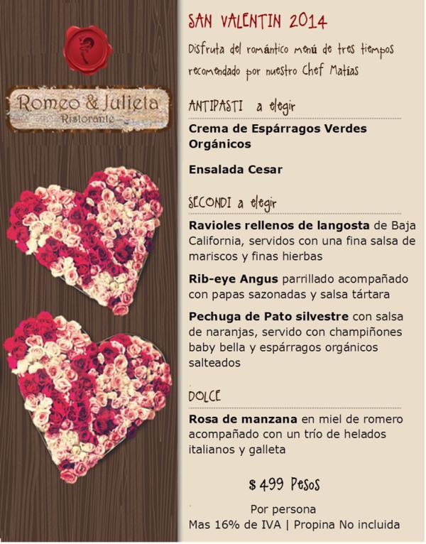 Menu San Valentin RJ