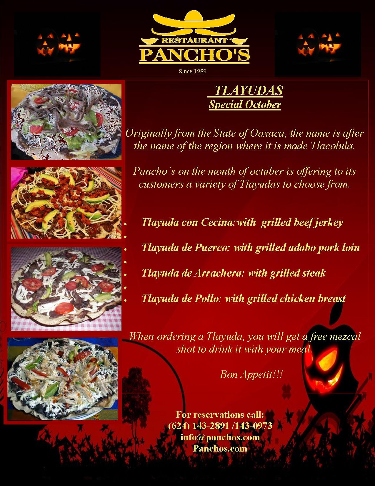 Panchos Restaurant October Special