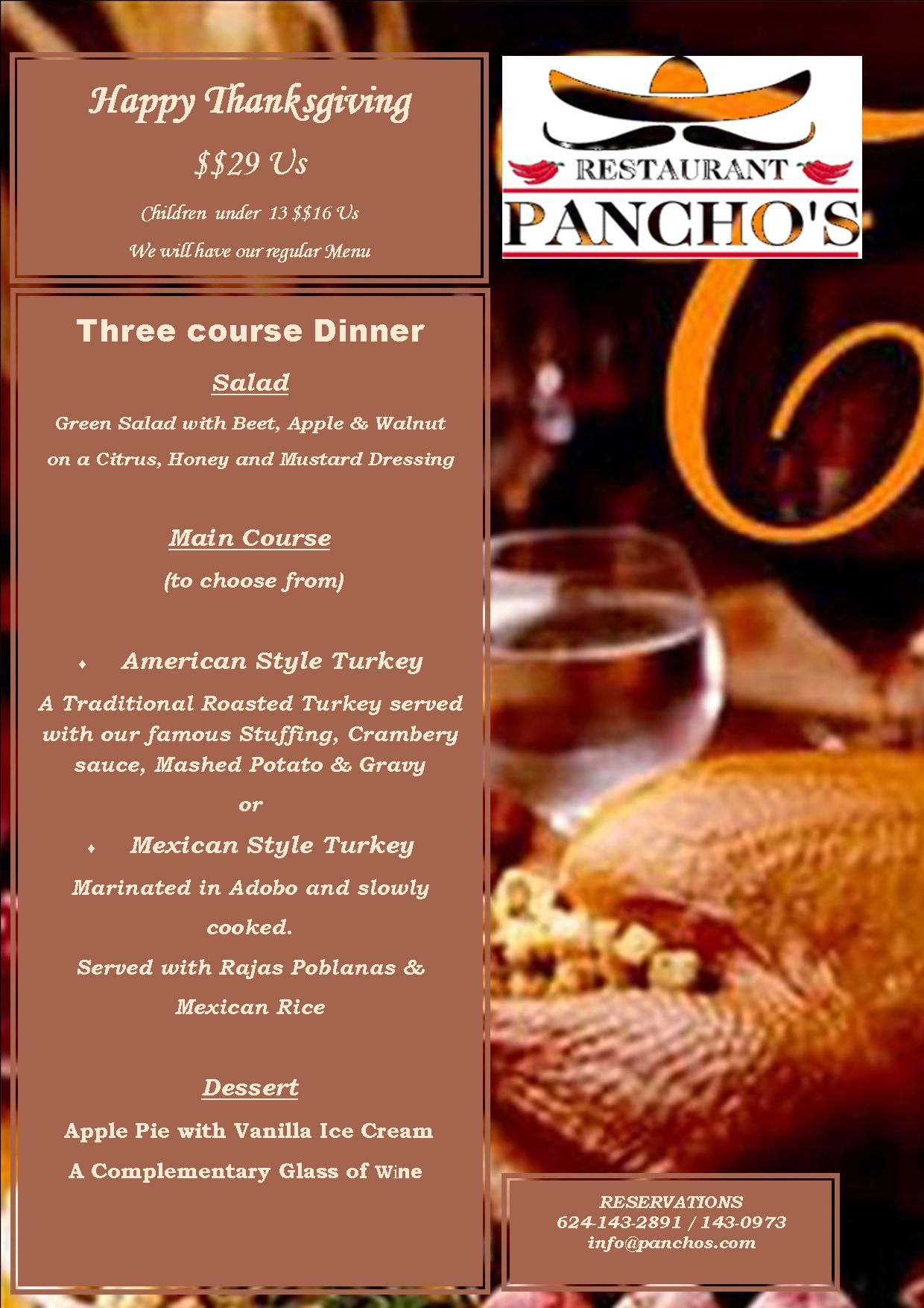 Happy Thanksgiving at Panchos Restaurant